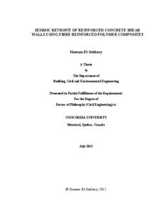 Seismic Retrofit of Reinforced Concrete Shear Walls using Fibre Reinforced Polymer Composites