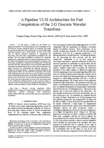 A Pipeline VLSI Architecture for Fast Computation of the 2-D